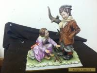 Antique Porcelain Capodimonte Italian Figurine Girl & Boy High Quality