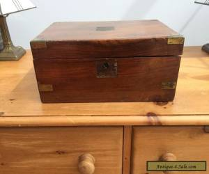 Victorian Edwardian Antique Writing Slope Box for Restoration, Brass Corners for Sale