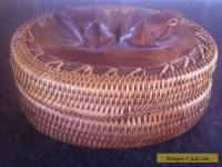 VINTAGE OVAL WEAVE & WOOD BOX WITH CARVED FROG'S ON LID. GREAT PIECE.