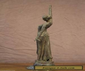 TALL antique bronze marble LADY DANCER STATUE Art Deco sculpture Frishmuth style for Sale