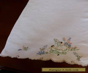 VINTAGE CRINOLINE LADY HAND TOWEL,GARDEN ,SOUTHERN BELLE,LOVELY EMBROIDERY for Sale