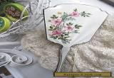 Antique 1939 Sterling Silver & Guilloche Enamel Roses Mirror Birmingham  WOW for Sale