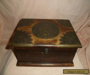 VINTAGE WOODEN BOX WITH BRASS DETAIL for Sale