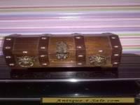 vintage wooden pirate lionhead trinket or jewellery  box