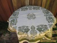 VINTAGE GREEN &CREAM TABLE CLOTH