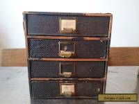VINTAGE WOODEN FILE BOX WOOD & METAL CABINET CHEST OF DRAWERS DESK TOP FILING