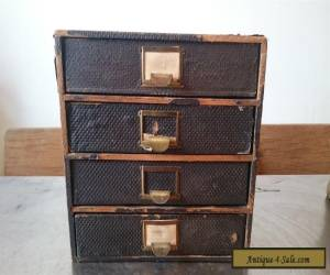 VINTAGE WOODEN FILE BOX WOOD & METAL CABINET CHEST OF DRAWERS DESK TOP FILING for Sale