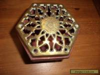 vintage wooden  box with brass lid