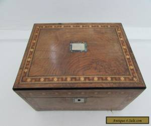 Antique Victorian Walnut Sewing Box Parquetry Inlaid Decoration for Sale