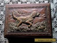 Vintage Syrocco Wooden Jewelry/Trinket Box Carved Hunting Dog