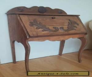 Antique Oak Secretary Writing Desk Hand Carved for Sale