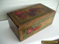 LOVELY OLD HAND-PAINTED WOODEN BOX WITH PLUMS AND FOLIAGE c1910