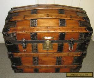 ANTIQUE STEAMER TRUNK VINTAGE VICTORIAN DOME TOP BRIDES STYLE CLASSIC WOOD CHEST for Sale
