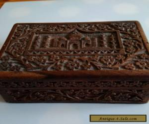 BEAUTIFUL carved wooden box with hinged lid for Sale