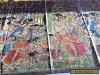 RARE OLD ANTIQUE INDONESIAN PAINTED TEXTILE ART WAYANG KERIS KRIS DAGGER