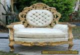 VINTAGE ANTIQUE CARVED ORNATE GILT French Boudoir Chair Original Button Back for Sale