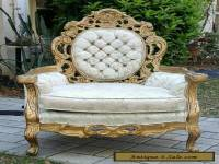 VINTAGE ANTIQUE CARVED ORNATE GILT French Boudoir Chair Original Button Back