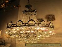 Antique Vnt French HUGE Basket Style Crystal Chandelier Lamp 1940's 17in dmtr**-