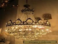 Antique Vnt French HUGE Basket Style Crystal Chandelier Lamp 1940's 17in dmtr**-