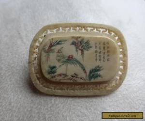 Chinese carved and pierced brooch with fine text, vintage/antique for Sale