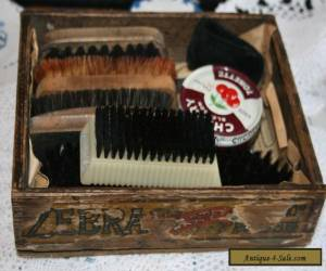 Vintage/Antique Solid Wood Advertising Box Shoe Cleaning Kit Brushes Wooden Old for Sale