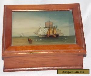 Vintage Wooden Jewelry Box / Glass Insert of Ocean and ships for Sale
