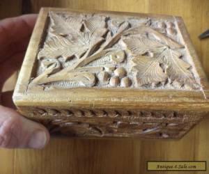 vintage carved wooden box for Sale