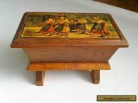 Lovely Old Vintage Wooden Casket Style Box with Argentat Picture.