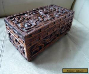 ANTIQUE HAND CARVED WOODEN TRINKET BOX ~ LEGS ~ SCROLLS & FLOWERS DECORATION for Sale