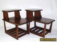 vintage pair walnut mid century modern danish step up side end tables lane style
