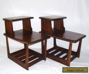 vintage pair walnut mid century modern danish step up side end tables lane style for Sale
