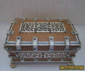 """Vintage /Antique Carved Bone and Wooden 5"""" Box. Highly intricate detail for Sale"""