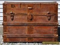 Antique Vintage VTG Victorian Steamer Trunk Train Travel Luggage Storage Chest
