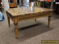 Vintage French Louis XV Style Marble Top Coffee Table Cocktail Designer 42""