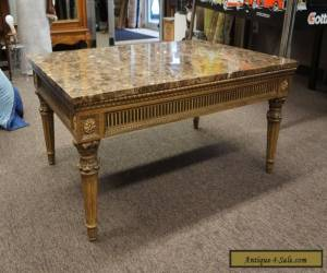"Vintage French Louis XV Style Marble Top Coffee Table Cocktail Designer 42""  for Sale"