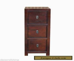 Asian Chinese Brown Wooden Narrow Cabinet Side End Table w/3 Drawers Ma2-02 for Sale