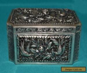 RARE ANTIQUE CHINESE SOLID SILVER BOX FANTASTIC CONDITION BEAUTIFUL for Sale