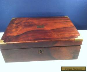 VINTAGE ANTIQUE WOOD SLOPED WRITING LAPTOP BOX. BEAUTIFUL BURL GRAIN for Sale