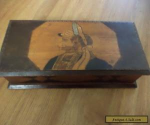 antique wooden box carved / poker work couple on lid for Sale