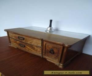 Antique Vintage 3-Drawer Desktop Wood Storage Box Solid Hand Crafted for Sale