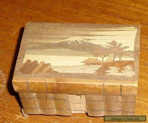 VINTAGE INLAID MARQUETRY WOODEN BOX WITH LOCK NO KEY for Sale