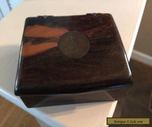 Vintage Phillipine Craft wood BOX Antique 1908 One Peso Silver COIN for Sale