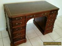19th Century Chippendale Style Leather Top Partners Desk Ornately Carved
