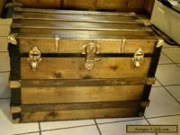 1800's Antique Victorian Large Flat Top Steamer Trunk