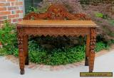 Antique French Oak Gothic Renaissance Highly Carved Entry Hall Sofa Table Desk for Sale