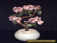 Chinese Carved Stone Cherry Blossom Bonsai Tree in Celadon Porcelain  Pot