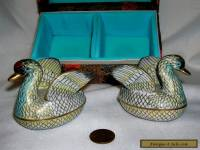 Pair of Vintage Oriental Cloisonne Geese in Original Box