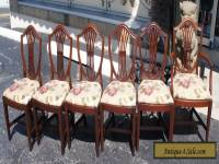 6 Vintage Hepplewhite Style Mahogany Carved Shield Back Dining chairs Mid Cent