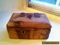 Rare early hand carved wooden box 17th or 18th century blacksmith nails