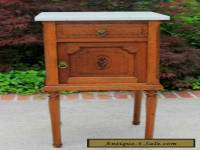 Antique French Oak Marble Top Art Deco Side Cabinet Lamp or End Table Nightstand